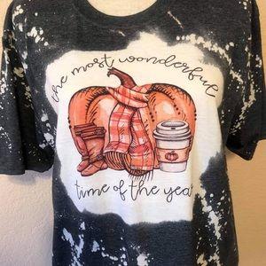 WHISKEY KISS Fall Pumpkin Bleach Dye Graphic Tee